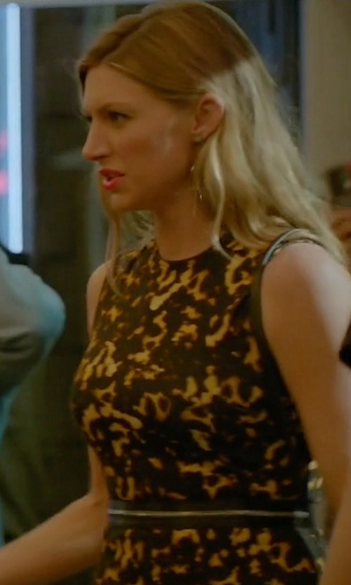 Jes Macallan with McQ by Alexander McQueen Printed Bodycon Zip Dress in Mistresses
