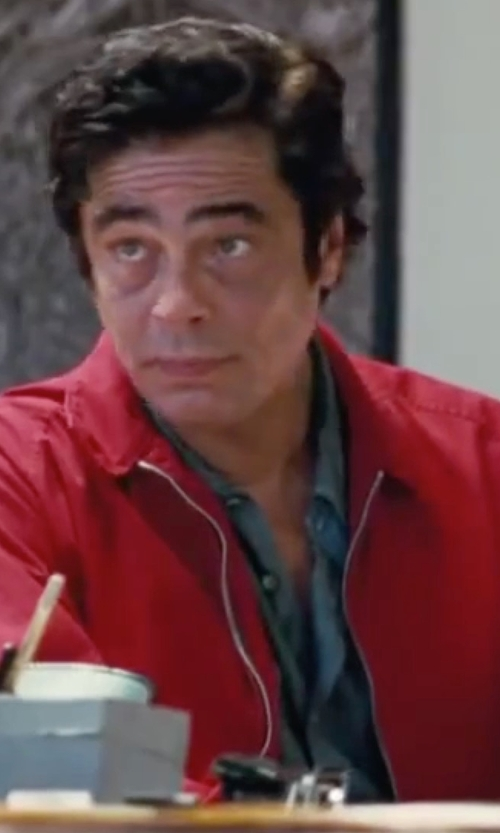 Benicio Del Toro with Gitman Solid Button-Down Shirt in Inherent Vice