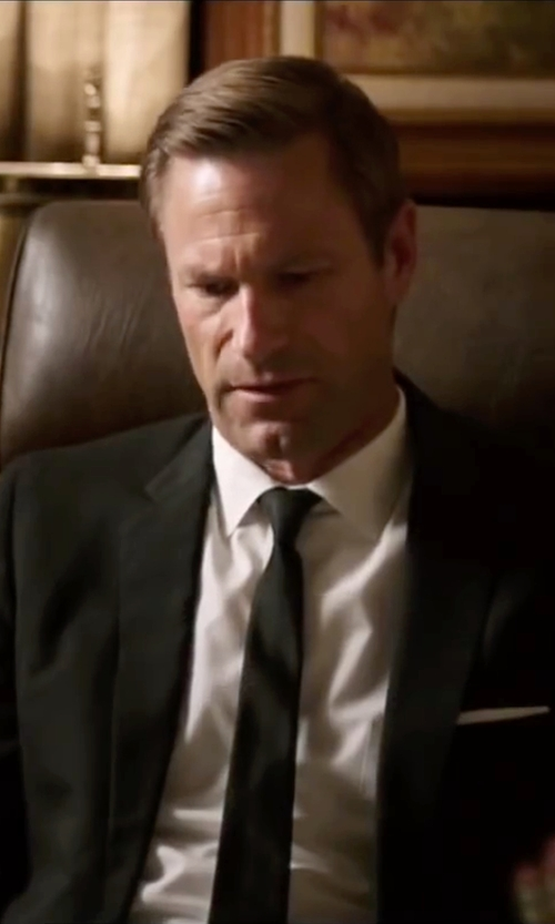 Aaron Eckhart with The Tie Bar Solid Cotton Pocket Square in My All American