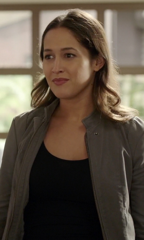 Jaina Lee Ortiz with HM Leathercraft Leather Jacket in Rosewood
