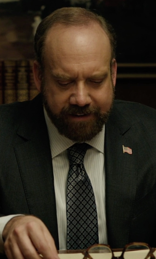 Paul Giamatti with Kenneth Cole Reaction Mini Square Print Tie in Billions