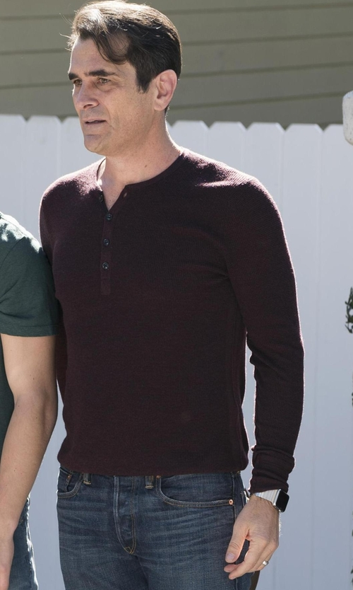 Ty Burrell with Rag & Bone Garrett Long-sleeve Thermal Henley Shirt in Modern Family