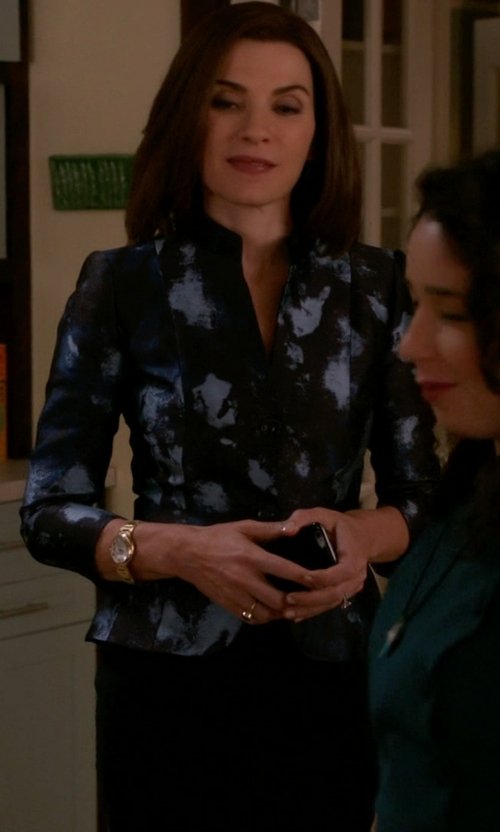 Julianna Margulies with Lafayette 148 New York Patterned Two-Button Jacket in The Good Wife