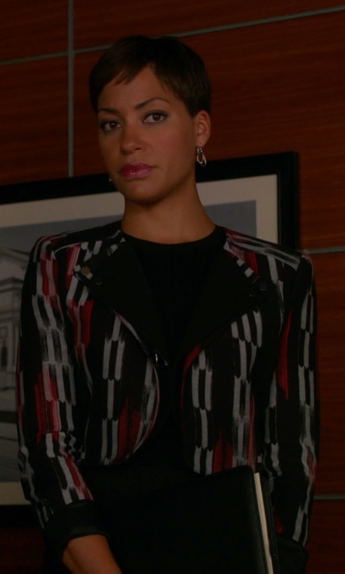 Cush Jumbo with Karl Lagerfeld Cropped Tweed Blazer in The Good Wife