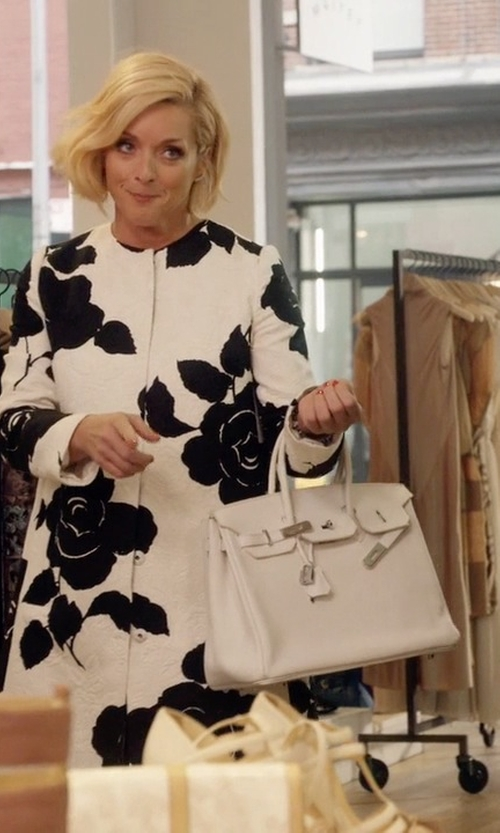 Jane Krakowski with Hermes Craie Togo Birkin Palladium Hardware Bag in Unbreakable Kimmy Schmidt