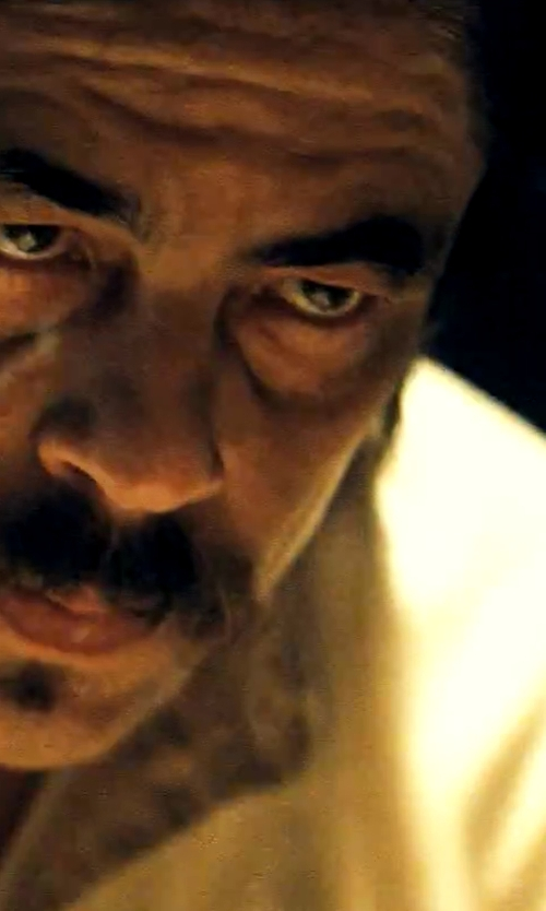 Benicio Del Toro with Calvin Klein Solid Dress Shirt in Savages