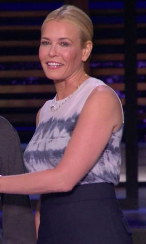 Chelsea Handler with Equipment Reagan Tie-Dye Sleeveless Blouse in Chelsea