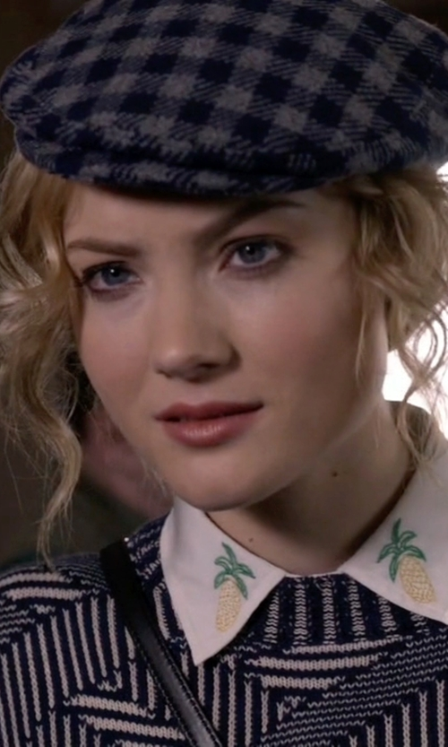 Skyler Samuels with NOM Gingham Check Hunting Cap in Scream Queens