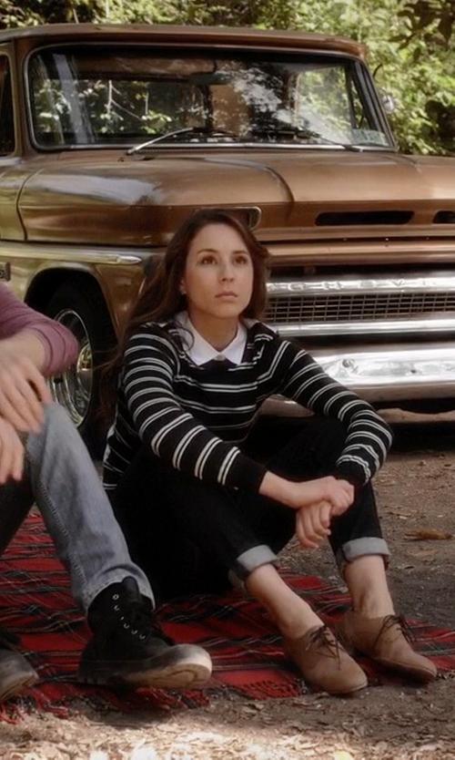 Troian Bellisario with Veronica Beard Collared Button Back Stripe Sweater in Pretty Little Liars