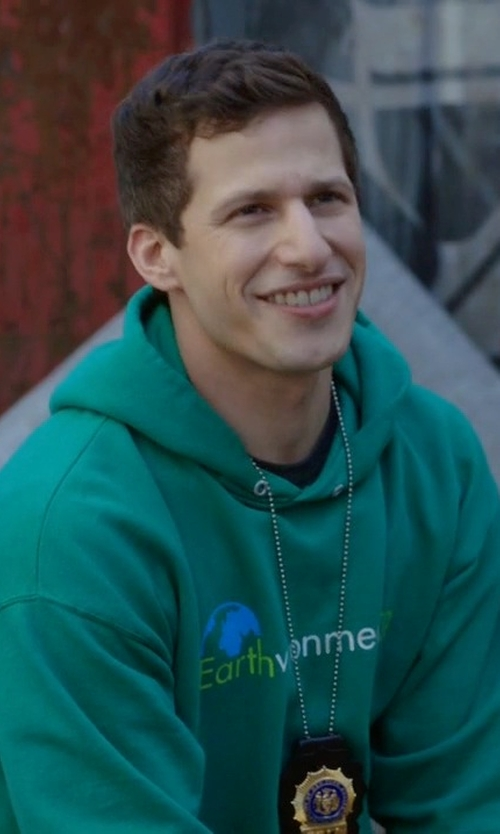 Andy Samberg with Under Armour Notre Dame UA Iconic Hoodie Jacket in Brooklyn Nine-Nine