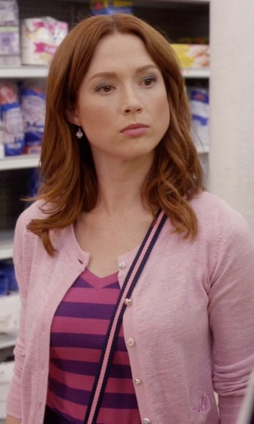Ellie Kemper with Modcloth Button Jar Cardigan in Unbreakable Kimmy Schmidt