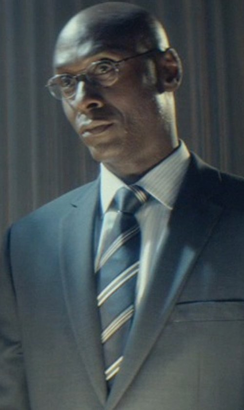 Lance Reddick with Armani Collezioni Thin Striped Cotton Dress Shirt in John Wick