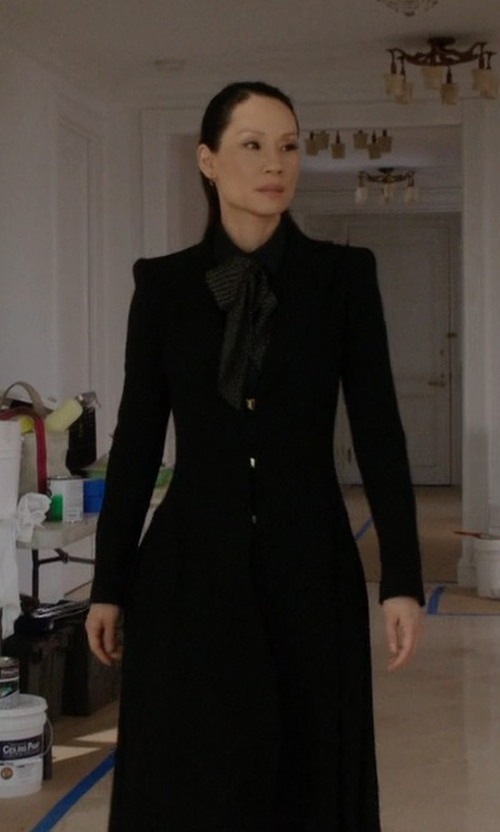 Lucy Liu with Alice + Olivia Bain Pleated Long Coat in Elementary