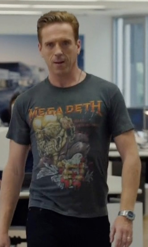 Damian Lewis with Hot Topic Megadeth Peace Sells Skull T-Shirt in Billions