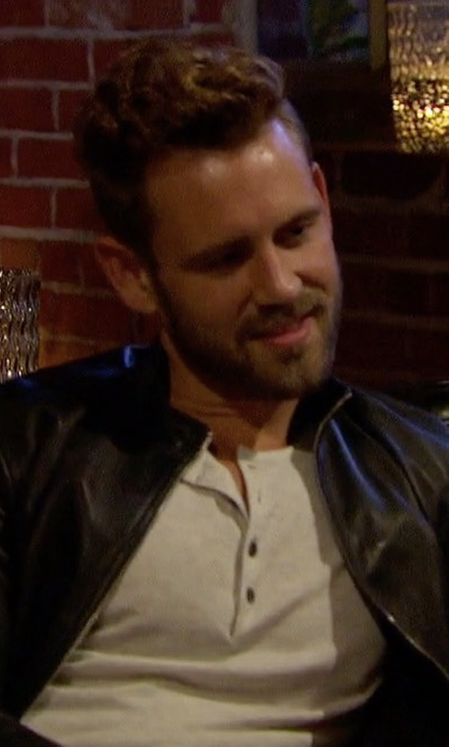 Nick Viall with Hugo Boss Zip-Front Leather Jacket in The Bachelor