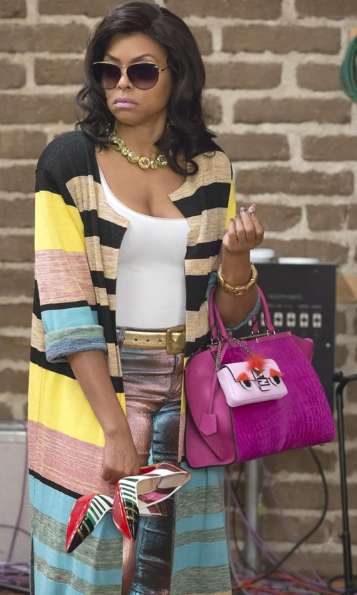 Taraji P. Henson with Missoni Metallic Crochet-Knit Wide-Leg Pants in Empire