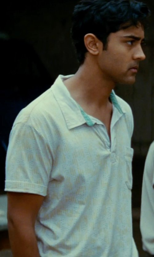 Manish Dayal with Polo Ralph Lauren Solid Jersey Polo Shirt in The Hundred-Foot Journey