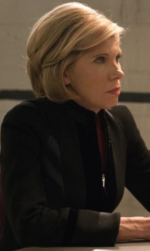 Christine Baranski with Giorgio Armani Zip-Front Fitted Combo Jacket in The Good Fight