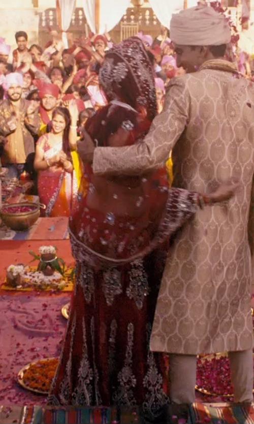 Tena Desae with Utsav Fashion Dark Red Art Silk Saree in The Second Best Exotic Marigold Hotel