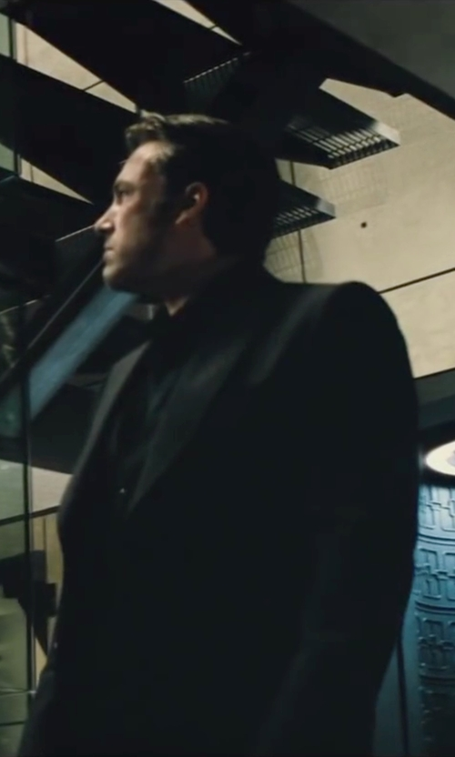 Ben Affleck with Gucci Custom Made Black Peak Lapel Suit in Batman v Superman: Dawn of Justice