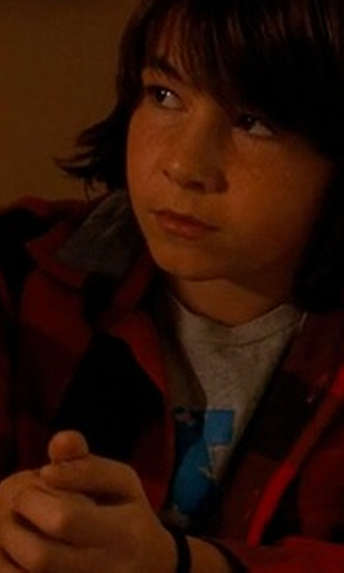 Jonah Bobo with American Apparel Brushed Plaid Cotton Twill Long Sleeve Button-Up Shirt in Crazy, Stupid, Love.
