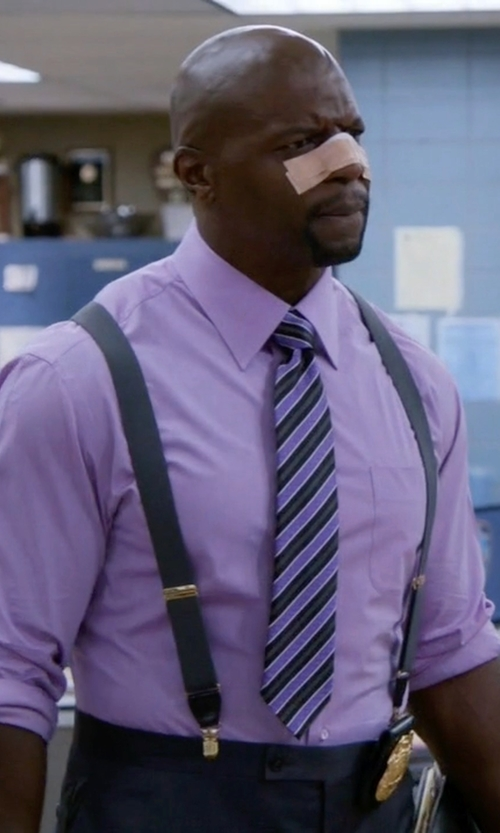 Terry Crews with Ermenegildo Zegna Textured Stripe Silk Tie in Brooklyn Nine-Nine