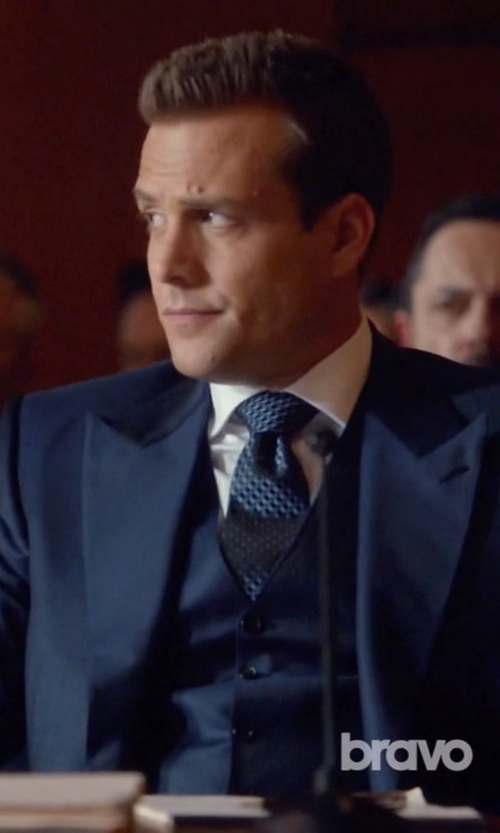 Gabriel Macht with Armani Collezioni Square Print Silk Tie in Suits