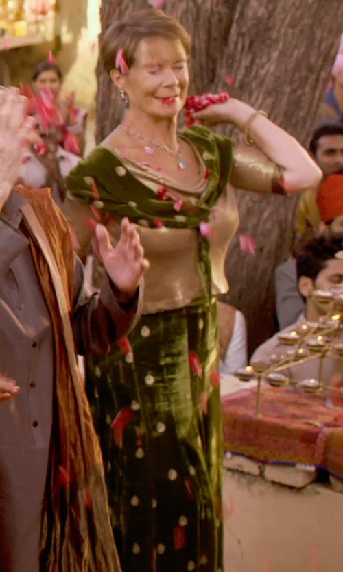 Celia Imrie with ZZDNU Jean Paul Gaultier Garden Print Tulle Maxi Dress in The Second Best Exotic Marigold Hotel