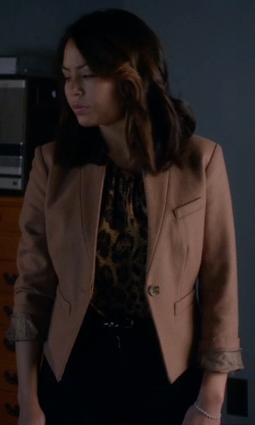 Janel Parrish with Boss Jakysa Solid Jacket in Pretty Little Liars