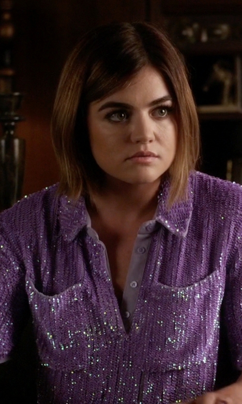 Lucy Hale with Asos Sequin T-Shirt in Pretty Little Liars