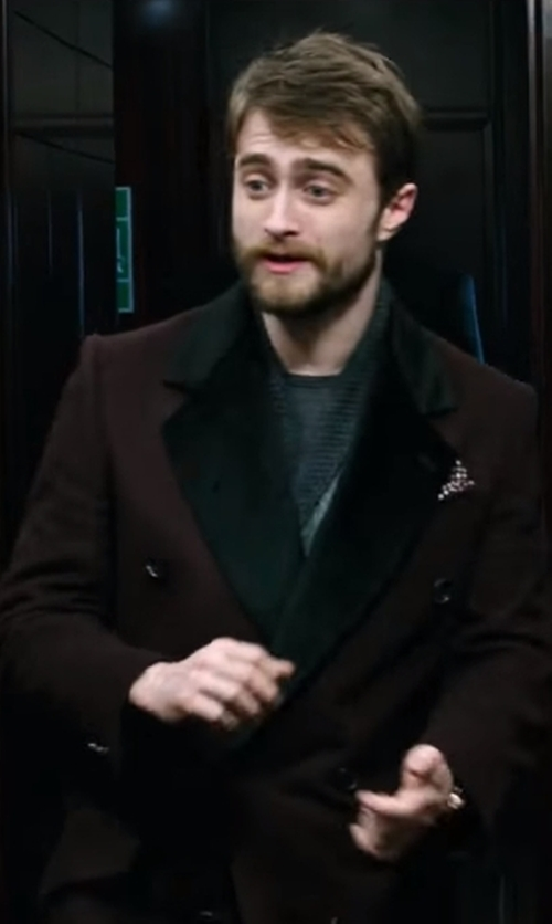 Daniel Radcliffe with Vivienne Westwood Burgundy Double Breasted Coat in Now You See Me 2