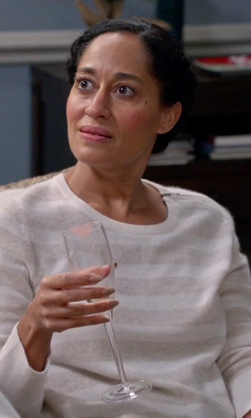 Tracee Ellis Ross with Aqua Cashmere Stripe Zip Shoulder Sweater in Black-ish
