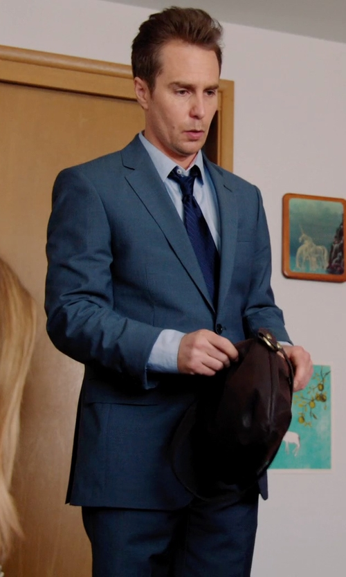 Sam Rockwell with Hart Schaffner Marx 'Los Angeles' Trim Fit Blue Wool Suit in Laggies