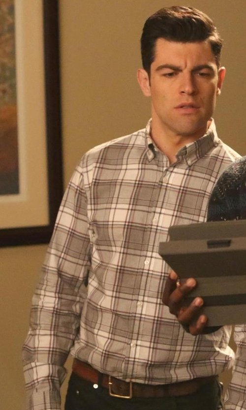 Max Greenfield with Polo Ralph Lauren Slim Fit Plaid Twill Sport Shirt in New Girl