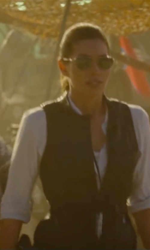 Jessica Biel with Kobi Halperin	 Ivette Leather Belted Vest in The A-Team