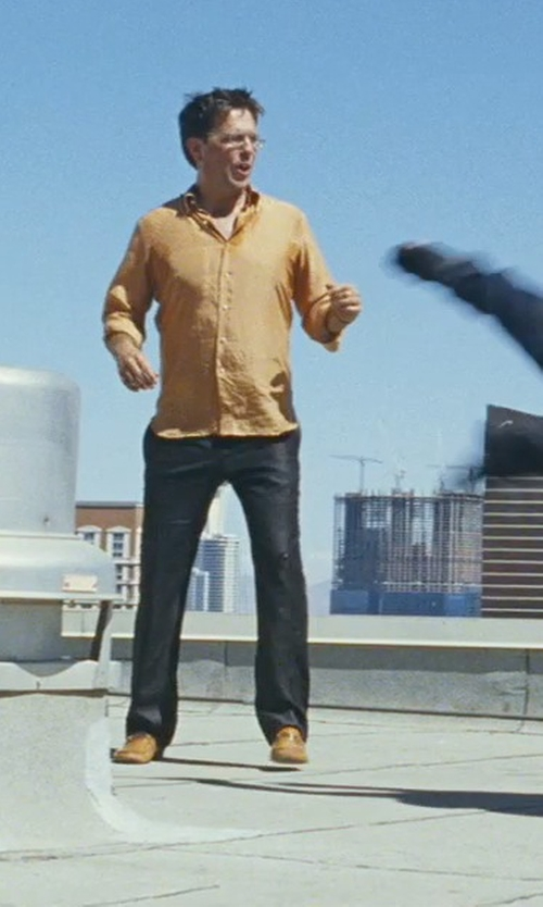 Ed Helms with AntoBeverly Hills Custom Made Orange Silk Shirt in The Hangover