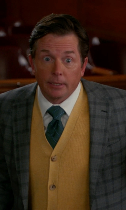 Michael J. Fox with Hart Schaffner Marx Classic Fit Plaid Wool Suit in The Good Wife