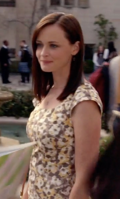 Alexis Bledel with Tadashi Shoji Cap-Sleeve Floral Embroidered Sheath Dress in Gilmore Girls: A Year in the Life