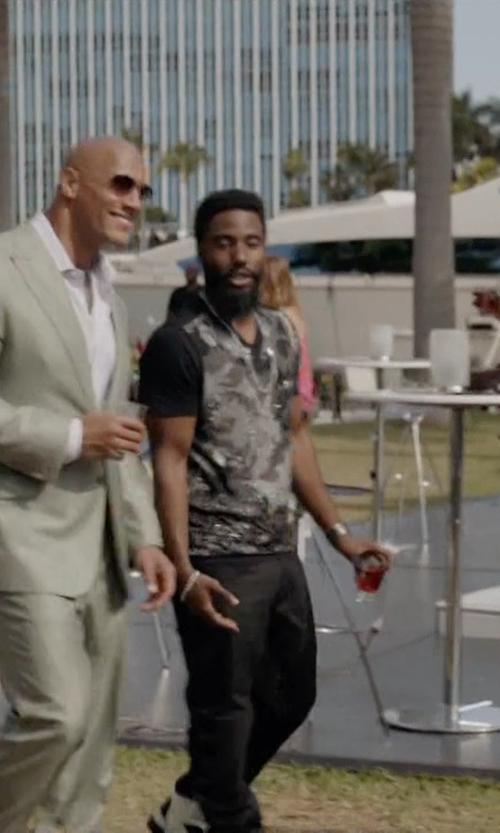 John David Washington with Breil Square Stainless Steel Chronograph Dial Watch in Ballers
