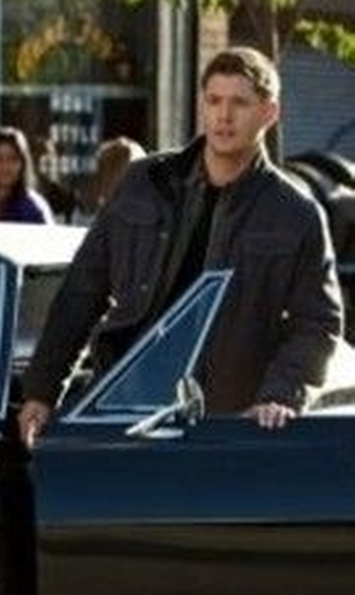 Jensen Ackles with Boss Orange Men's Otego-W Washed Cotton Canvas Field Jacket in Supernatural