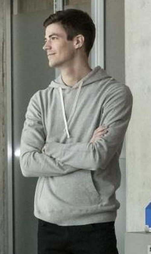 Grant Gustin with Reigning Champ Core Pullover Hoodie Sweater in The Flash