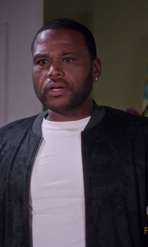 Anthony Anderson with Philipp Plein Shark Print Bomber Jacket in Black-ish