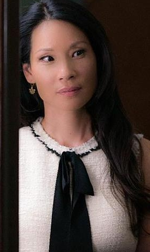 Lucy Liu with Zara Tweed Dress with Layered Skirt in Elementary