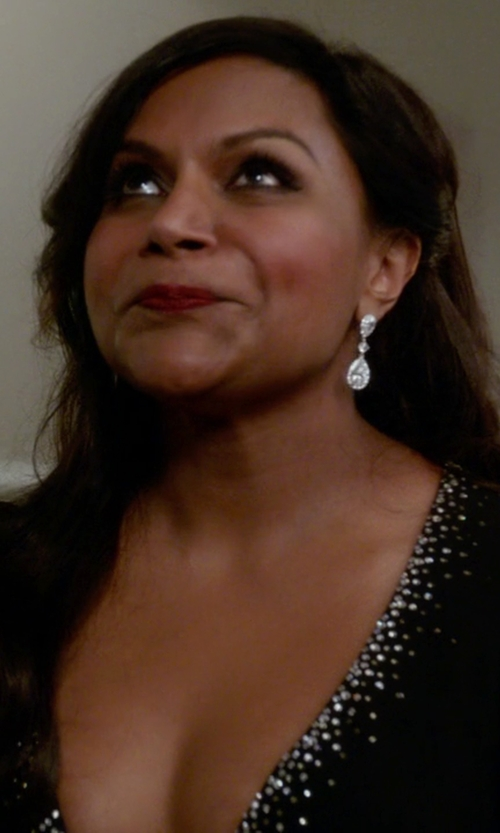Mindy Kaling with Amazon Collection Diamond Teardrop Dangle Post Earrings in The Mindy Project