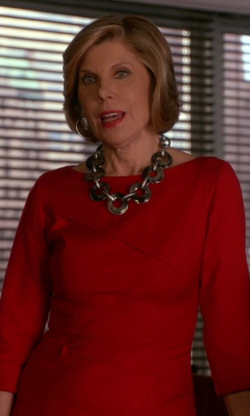 Christine Baranski with Lauren Ralph Lauren Jersey Crewneck Dress in The Good Wife