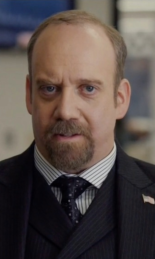 Paul Giamatti with Ike Behar Gold Label Striped Dress Shirt in Billions