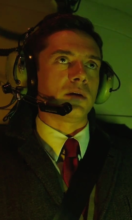Topher Grace with Calvin Klein Luxe Skinny Solid Tie in American Ultra