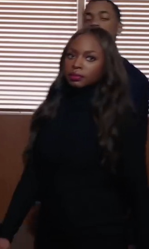 Naturi Naughton with Barneys New York Cotton-Blend Jersey Turtleneck Top in Power