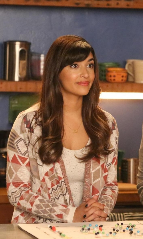 Hannah Simone with Sun & Shadow Blanket Cardigan in New Girl