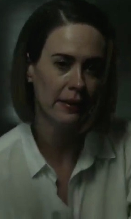 Sarah Paulson with Eileen Fisher Organic Cotton Lawn Oversized Shirt in American Horror Story